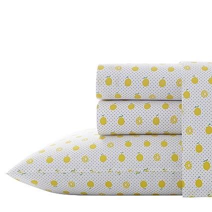 Amazon.com: Poppy & Fritz Lemons Sheet Set Twin XL Bright Yellow