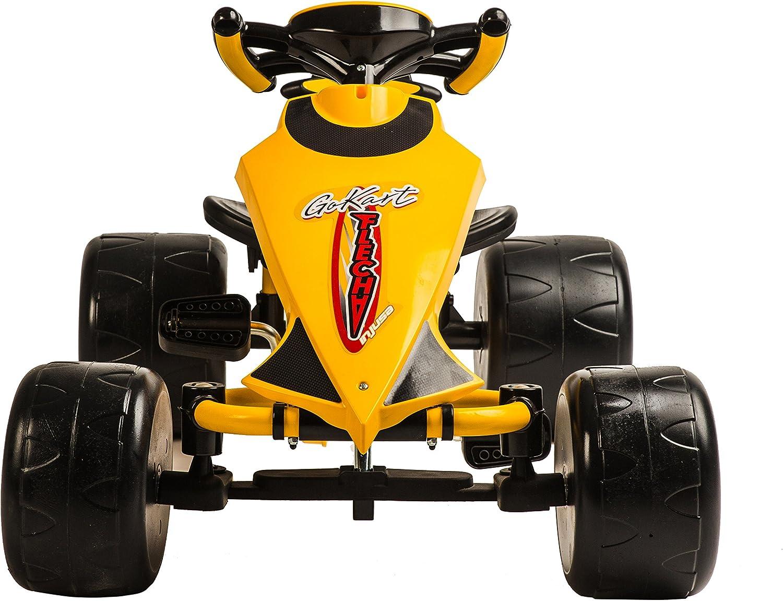 INJUSA 412 Go-Kart - Flecha a pedales para niños de 2 años con sillín ajustable y piñón fijo, amarillo