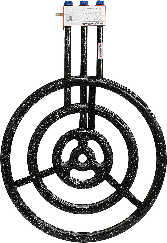 Garcima 76070 Hornillo paellero Gas Plano l-70 3 Fuegos, Negro, 71x99x13.6 cm