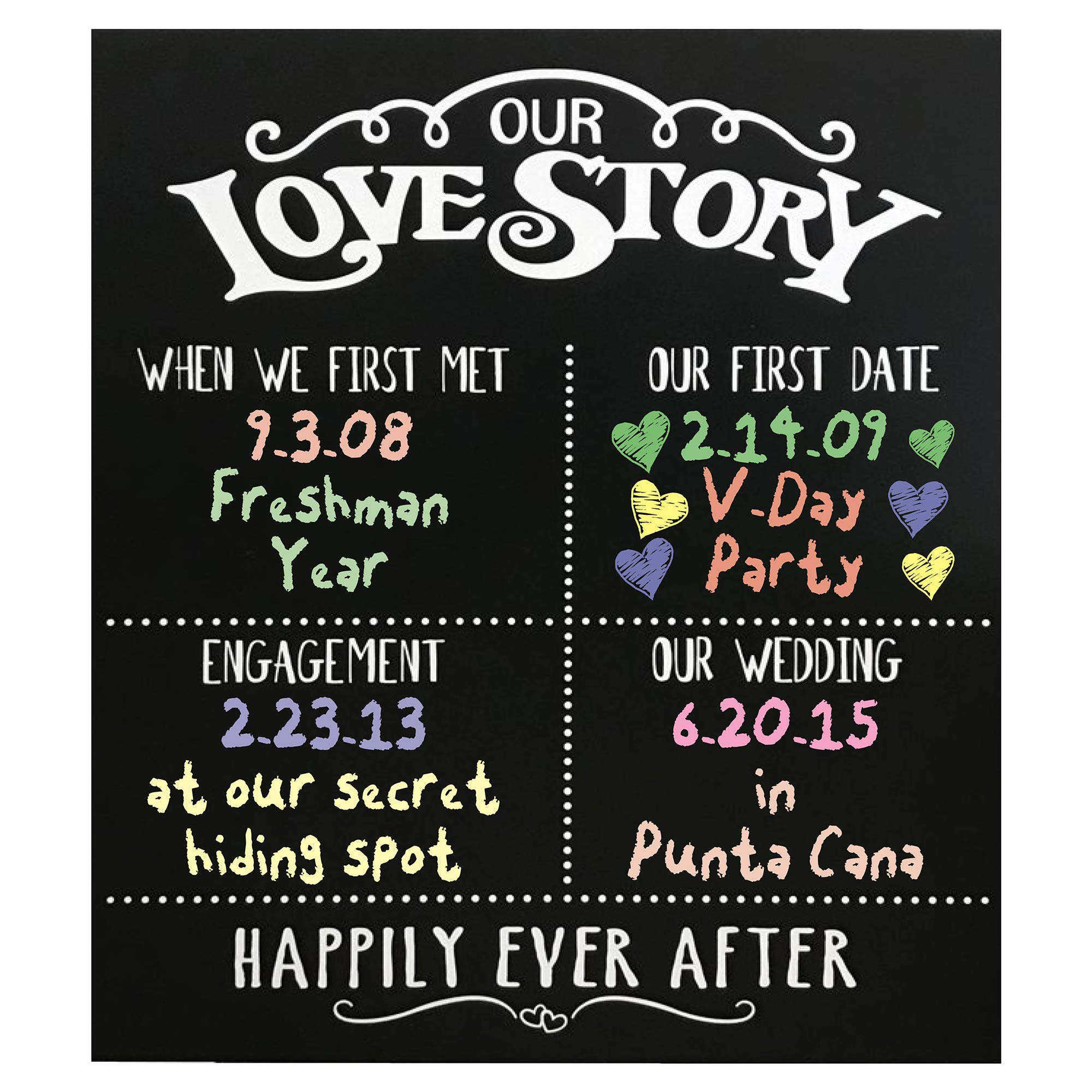 JennyGems - Our Love Story Chalkboard - First Met - First Date - Engagement Party Decor - Wedding - Anniversary - Happily Ever After - Photo Shoot Prop - Wedding Signs