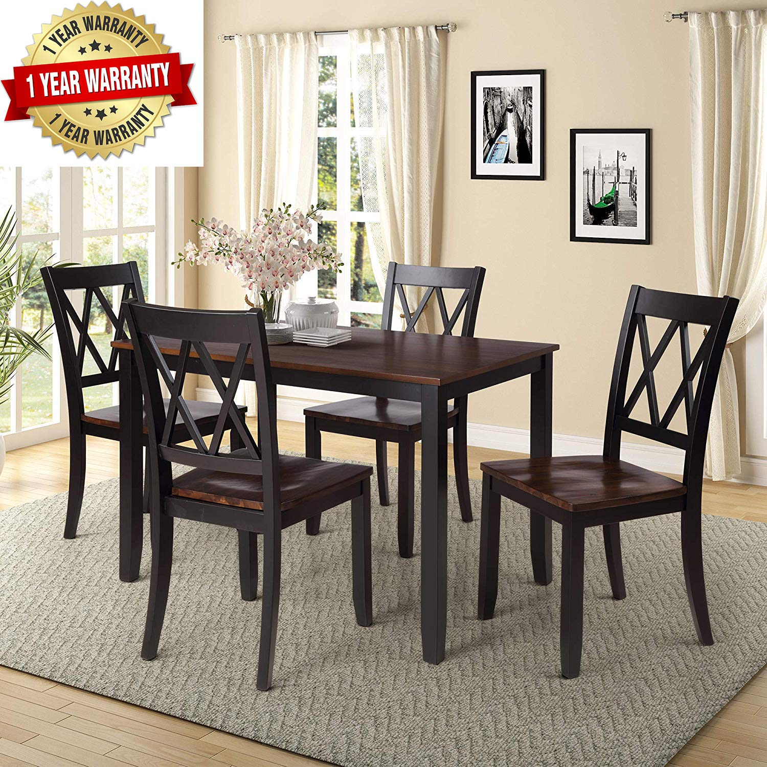 Merax 5-Piece Dining Table Set Home Kitchen Table with 4 Chairs SolidWood and ExquisiteDining Room Furniture by Merax