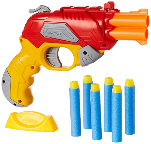 Amazon Brand - Jam & Honey Fire Blaster Toy Gun, Red, with Soft Foam Bullets and Target board