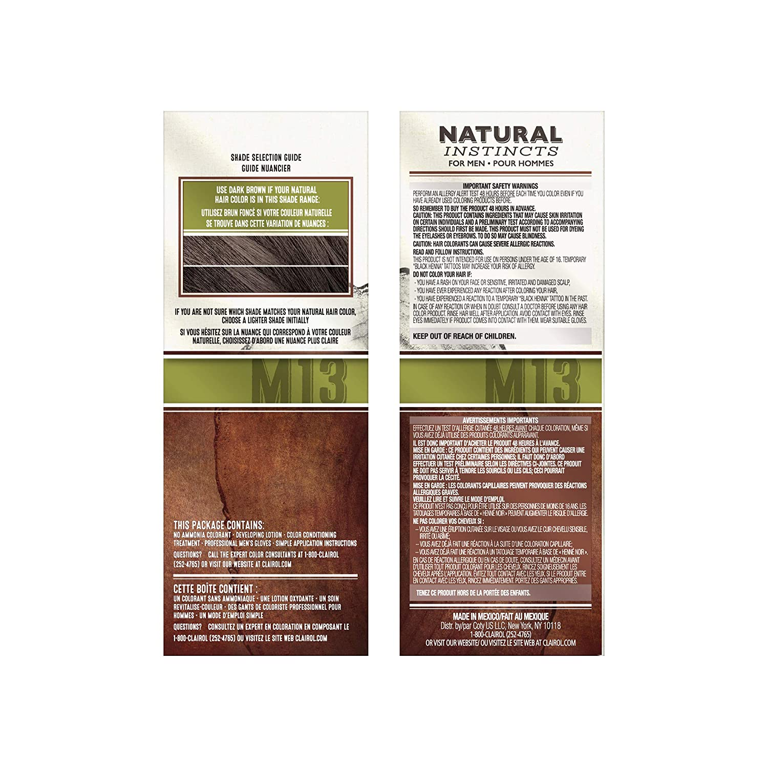 e3f4dbc32c88 Buy Clairol Natural Instincts Hair Color for Men M13 Dark Brown 1 Kit (Pack  of 3) Online at Low Prices in India - Amazon.in