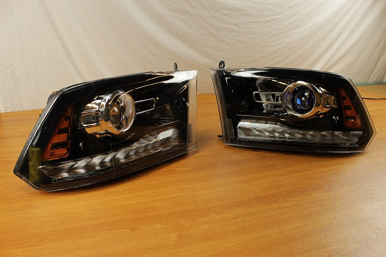 Pair Of Dodge Ram 1500 2500 3500 Black Projector Headlights Mopar OEM