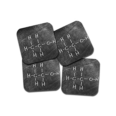 Ethanol Molecular Structure Coaster Set - Chalkboard Image - 4 Piece Set - Neoprene - Neurons Not Included