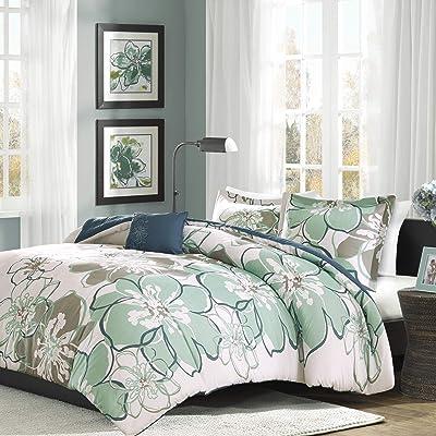 MI ZONE Allison Teen Duvet Covers, Ultra Soft Microfiber Girls Bed Sets, Full/Queen, Blue/Grey: Home & Kitchen
