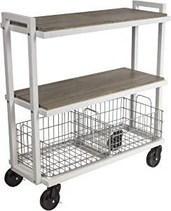 Atlantic Cart System 3 Tier Cart - Wide Mobile Storage, Interchange Shelves and Baskets, Powder-Coated Steel Frame PN23350328 in White