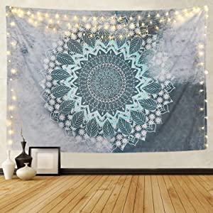BLEUM CADE Tapestry Mandala Hippie Bohemian Tapestries Wall Hanging Flower Psychedelic Tapestry Wall Hanging Indian Dorm Decor Living Room Bedroom (Teal, 51.2 ×59.1 inches)