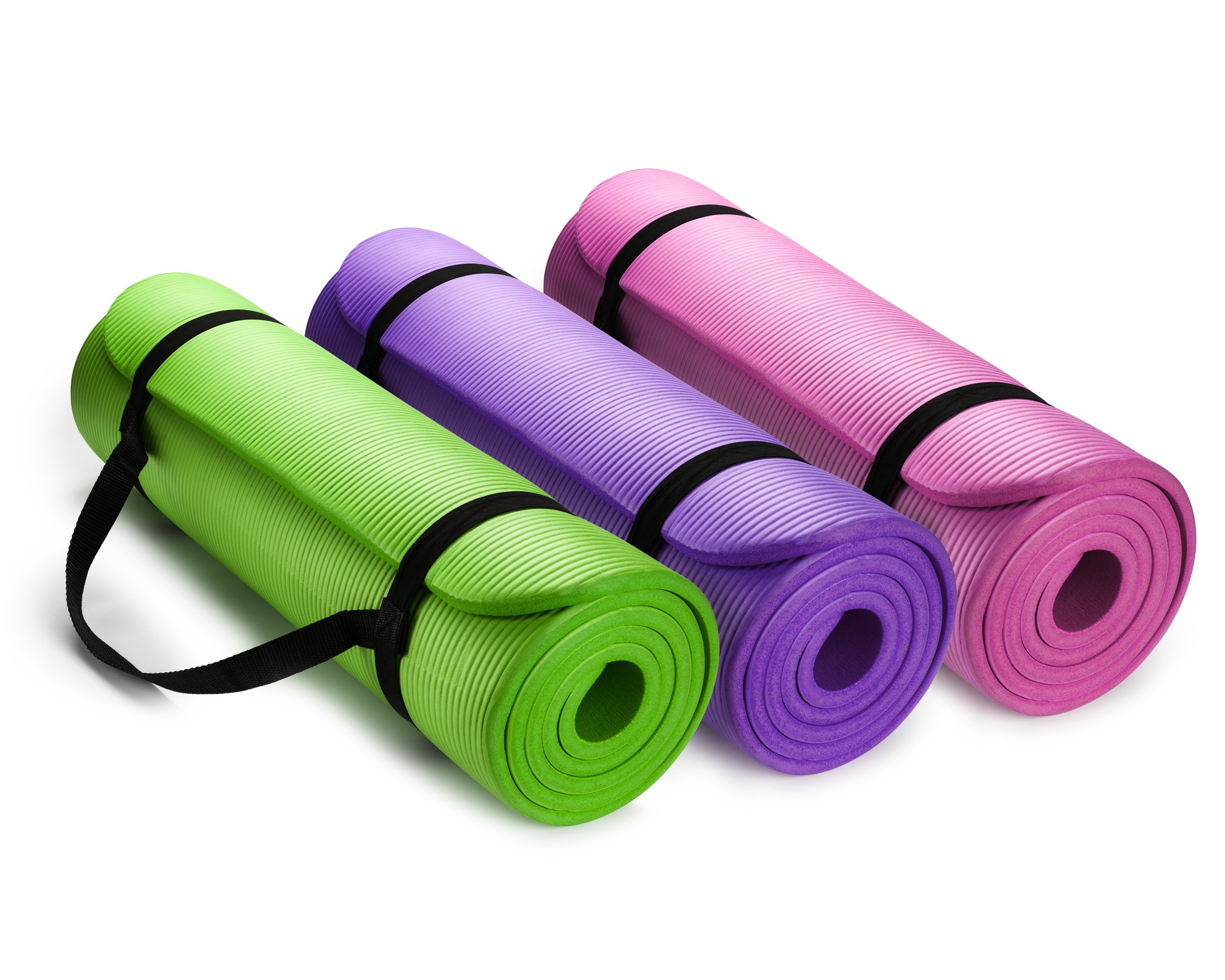 HemingWeigh 1/2-Inch Extra Thick High Density Exercise Yoga Mat with Carrying Strap (3 Pack Combo)