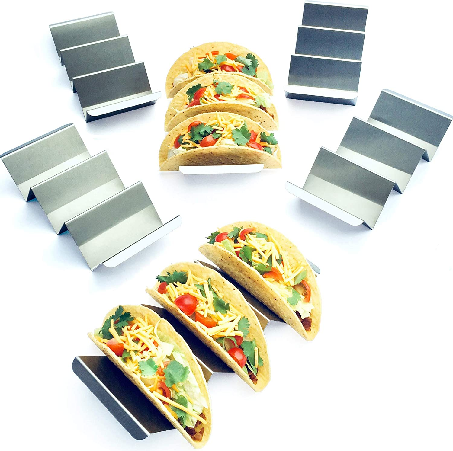 6 Pack Jumbo Taco Holder Stands - Stainless Steel Taco Racks - Metal Taco Trays - Restaurant Grade Stainless Steel for Fuller Sized Tacos - Oven and Dishwasher Safe - Soft and Hard Shell Taco Holders