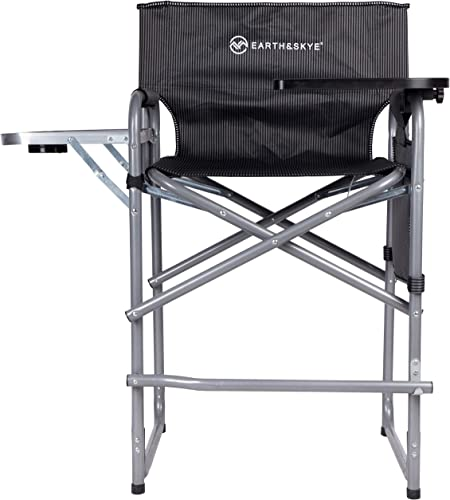 EARTH SKYE Tall Director Chair Foldable Director Chair Bar Height Makeup Chair for Artists Portable Durable Steel Frame with Oxford Fabric Supports 300 lbs