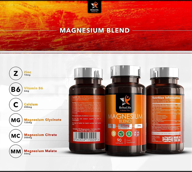 BL Magnesio - 375mg por Porción 90 Capsulas Veganas de Alta ...