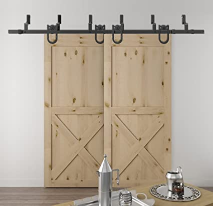 DIYHD 6FT Bypass Double Sliding Barn Wood Door Hardware Rustic Black Bypass  Horseshoe Hanger Barn Door