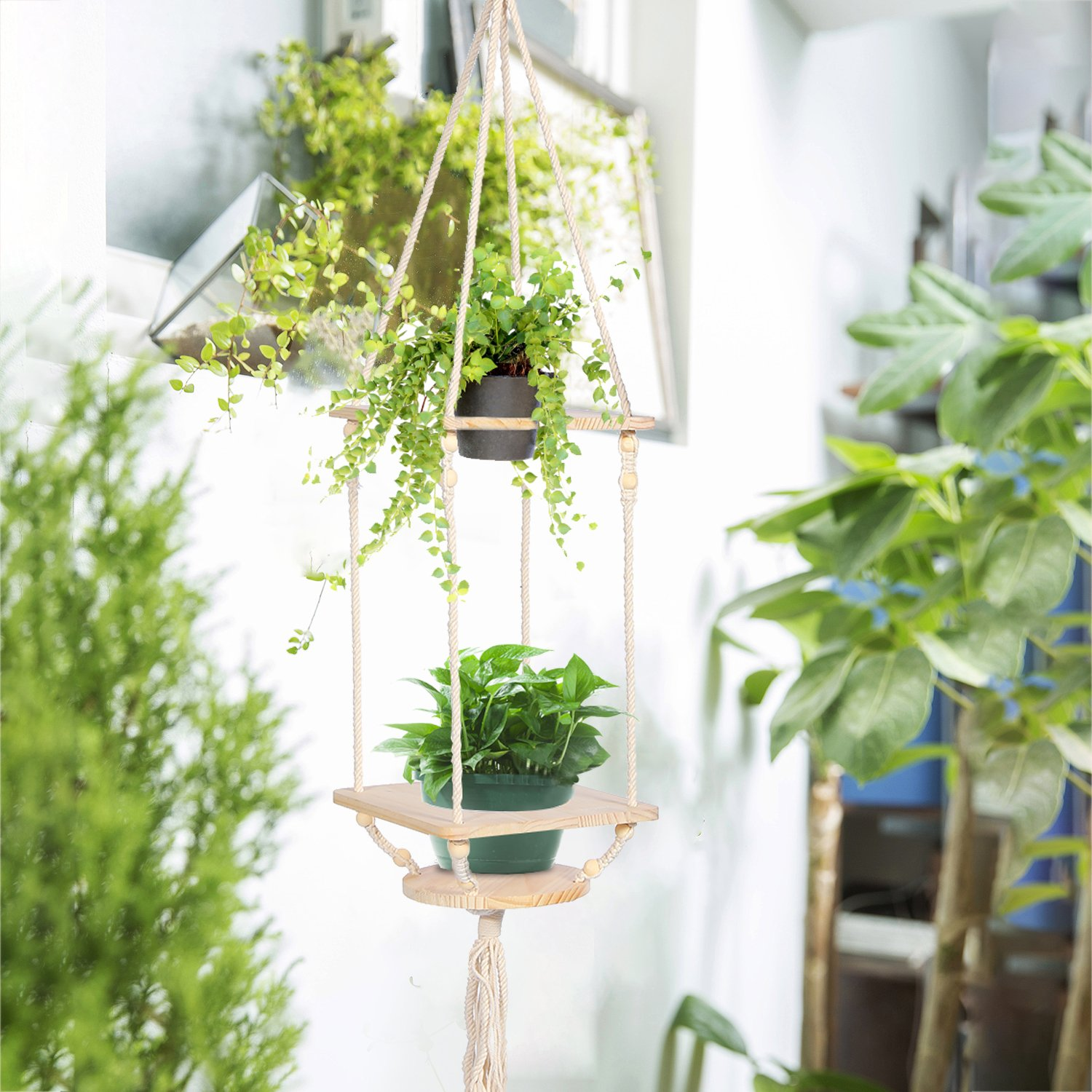 Macrame plant hanger wooden hanging planter stand pine shelf with decorative beads bohemian home decor