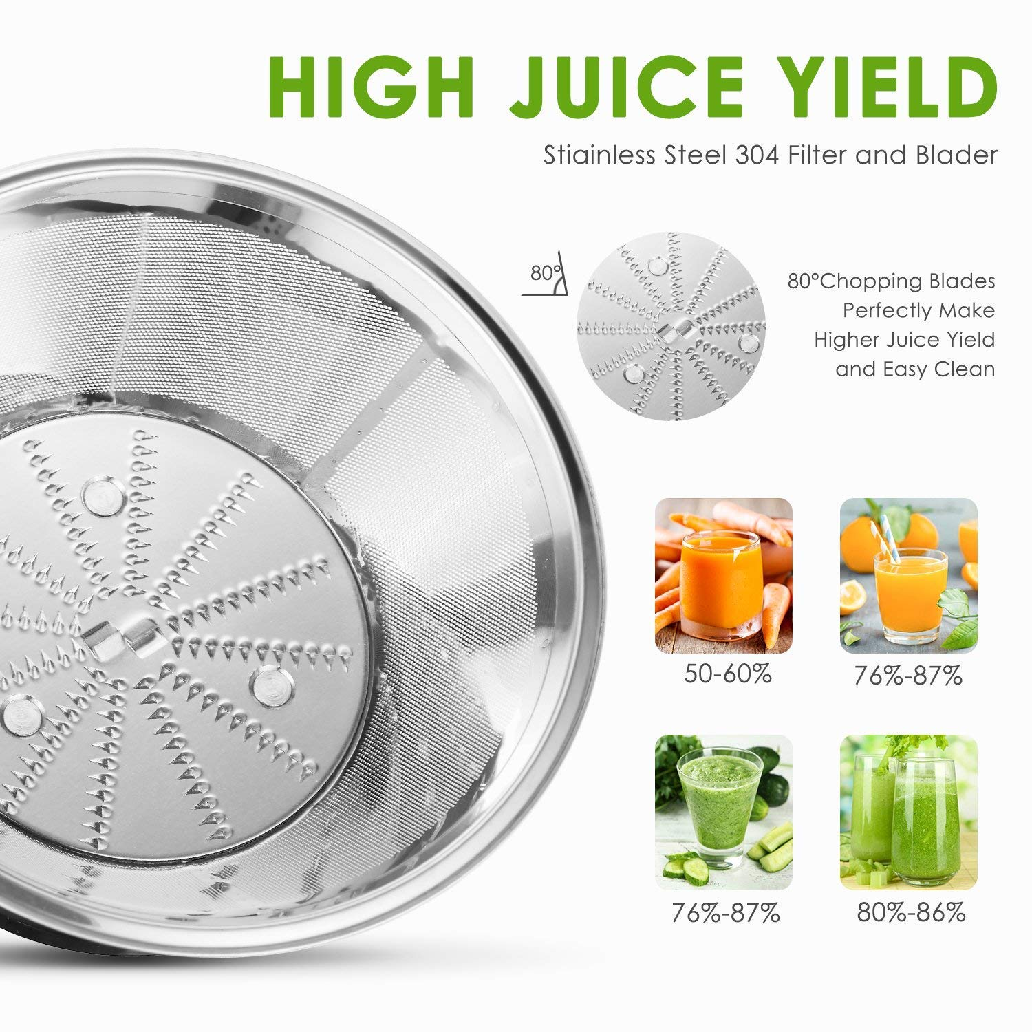 Non-Slip Feet Aicok Juicer Anti-drip BPA Free 3 Speed 400W High Power Stainless Steel Juice Extractor for Fruit and Vegetable Wide Mouth Electric Centrifugal Juicer Machine with Pulse Function