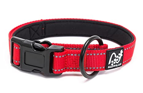 Happilax Collar perro mediano acolchado, ajustable y reflectante, rojo