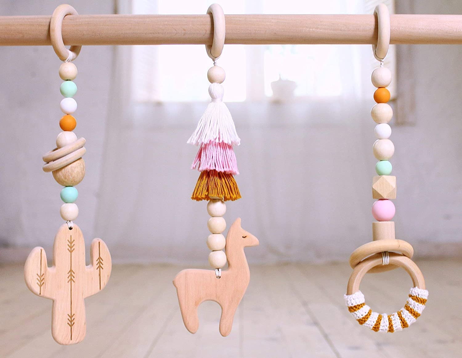Wooden baby gym mobiles. Set of 3: cactus, llama, ring. Desert. Boho. Travel. Play Gym Accessory. Wood activity gym mobiles. Baby Shower Gift. Pink mustard mint