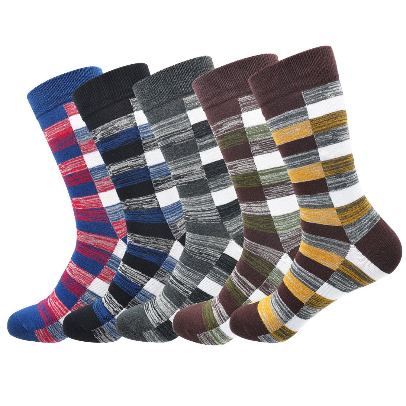 Morecoo Men's Cotton Striped Dress Socks Colorful Trouser Dress Socks For Men(5 Pack)