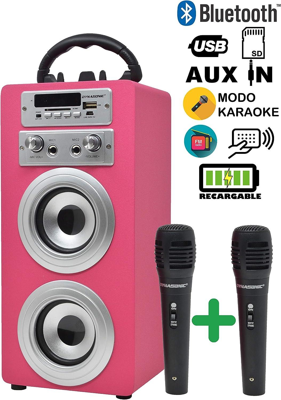 DYNASONIC - Altavoz Bluetooth con Karaoke 2 Micrófonos Radio y Lector USB SD, Color Rosa   Altavoz Inalámbrico Karaoke