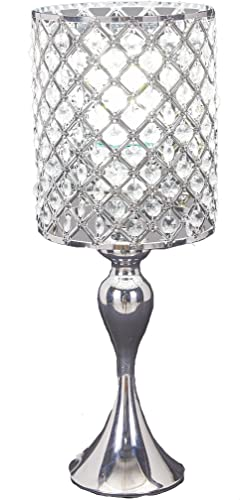 SwanHouse Crystal Chandelier Silver Modern Table Lamp BSH-KOT-W7xH19