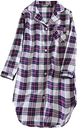 2a5ebf0a39 Amoy madrola Women s Flannel Boyfriend Nightshirt Button Down Nightgown Mid- Long Style Plaid Sleepshirt SY113L