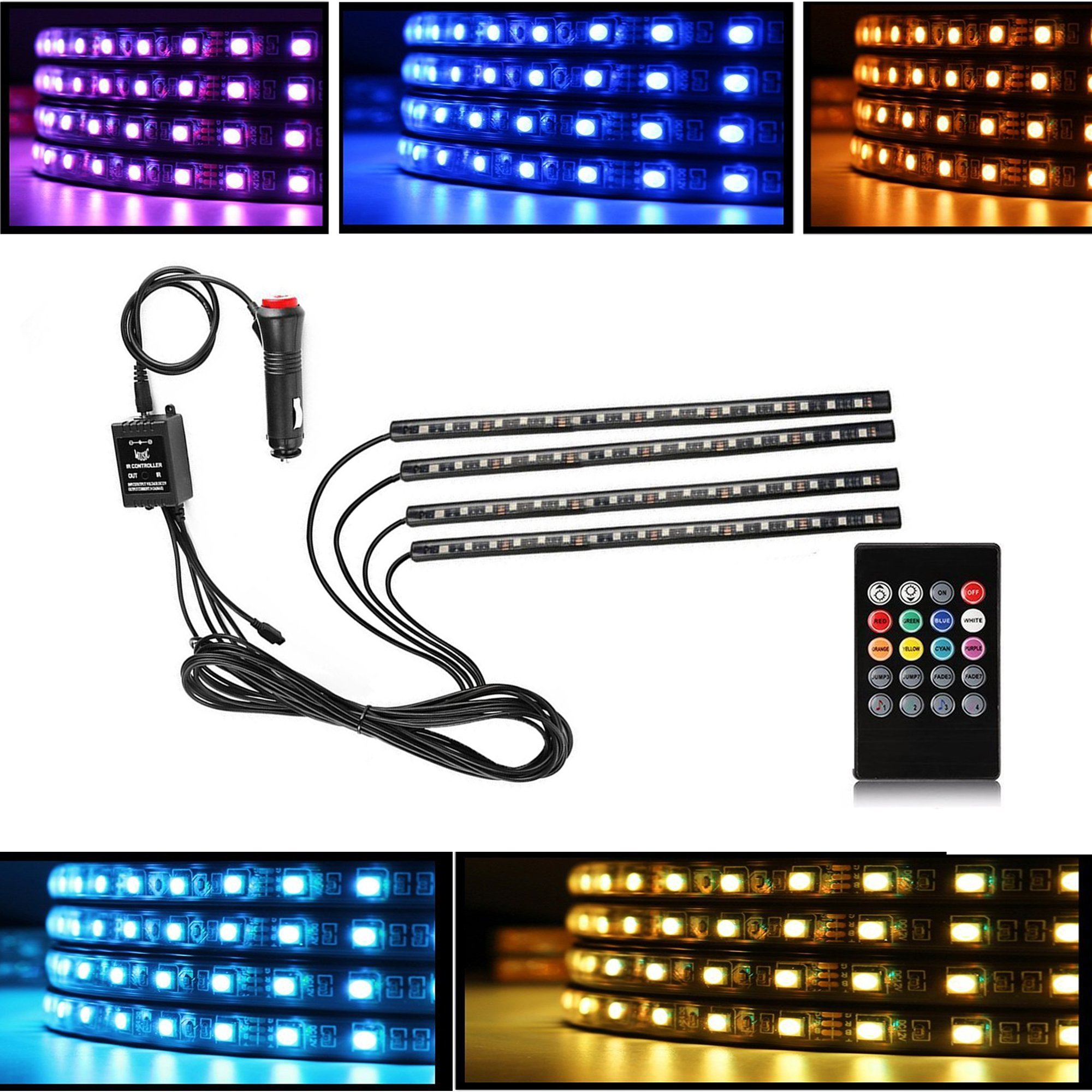 Car LED Interior Decorative Strip Lights, DC 12V (72 LEDs) Multicolor Music Active Car Strip Lights Under Dash Lighting Kit with Sound Active Function and Wireless Remote Control