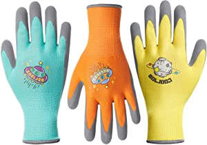 COOLJOB 3 Pairs Kids Gardening Gloves for Age 9-12, Grippy Rubber Coated Garden Work Gloves for Children, Orange & Green & Yellow, Large Size (3 Pairs L)