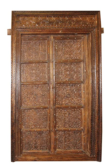 Rustic and Antique Solid Wood Doors Indian Style Earthy Brown Hand Carved  Haveli Double Door Architecture - Amazon.com: Rustic And Antique Solid Wood Doors Indian Style Earthy