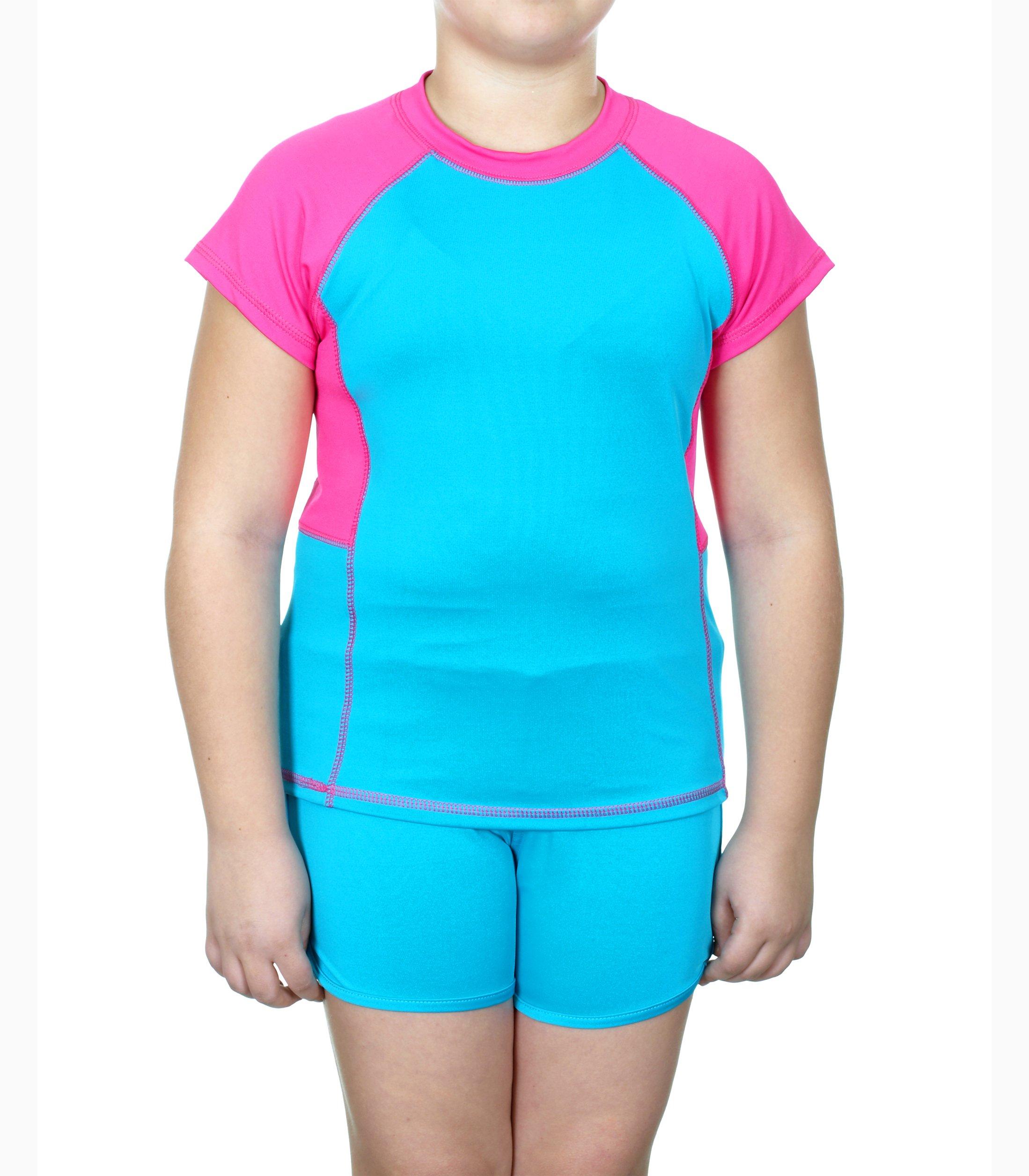 S.W.A.K. Girls 2-Piece Florescent Shirt & Shorts Set (14/16, Aqua & Pink)