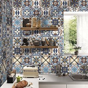 3d Tile Pegatinas 7,87 x 196.85 en – elegante Backsplash azulejo de cocina y baño fácil de aplicar despegar y pegar adhesivos decoración del hogar DIY Creative Adhesivos de suelo extraíble papel pintado mural art decoración