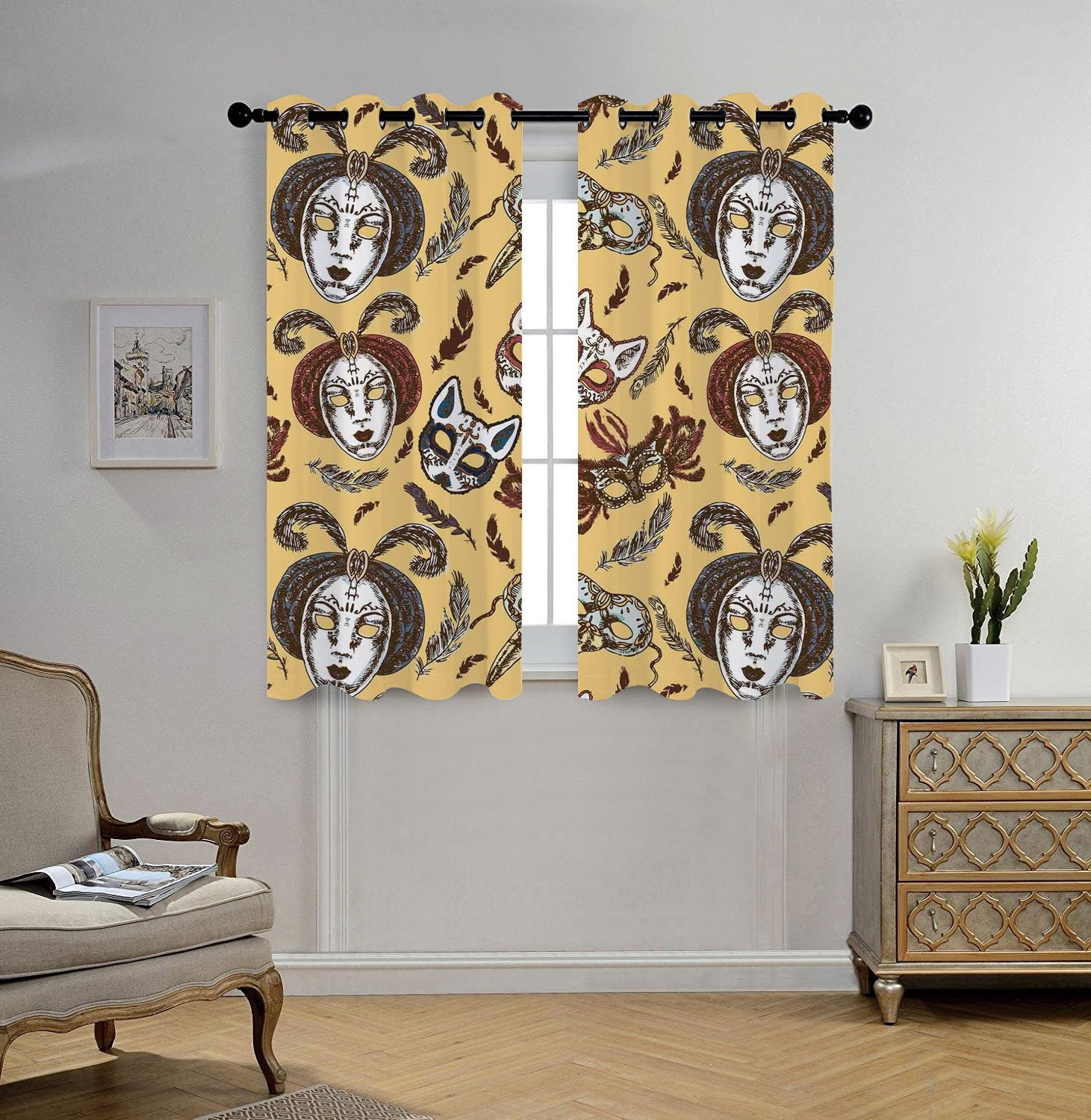 iPrint Stylish Window Curtains,Masquerade,Venetian Style Paper Mache Face Mask With Feathers Dance Event Theme,Mustard Brown White,2 Panel Set Window Drapes,for Living Room Bedroom Kitchen Cafe