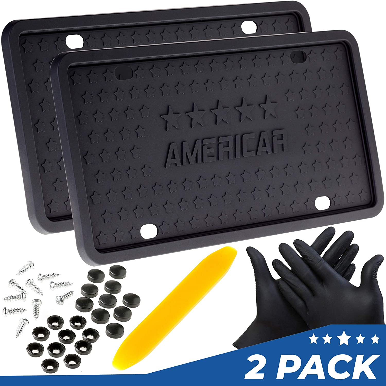 AMERICAR Premium License Plate Frame 2 Pack Kit – Black Silicone Car License Plate Holder/Frame – Rattle Proof, Scratch Proof, Rust Proof, Street Legal – Mounting Kit Included