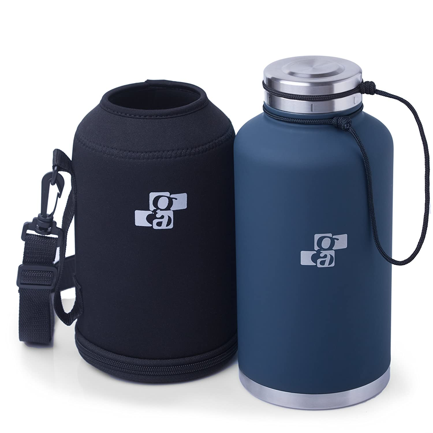 [Upgraded] Beer Growler and Water Bottle 64 oz | Insulated Stainless Steel Vacuum Growler and Water Bottle Dark Blue for HOT and COLD Beverages | Black Neoprene Growler Carrier Included Grocery Art UBG-001