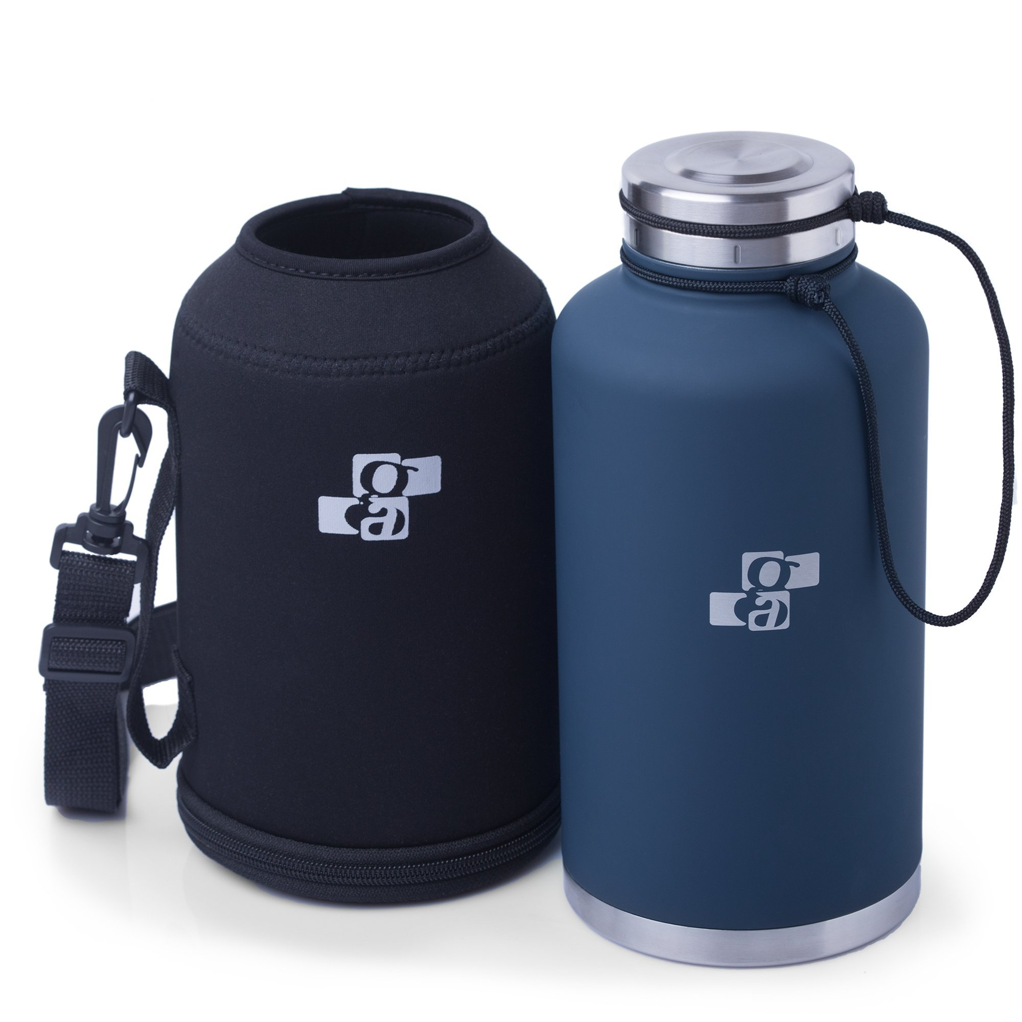 [Upgraded] Beer Growler and Water Bottle 64 oz | Insulated Stainless Steel Vacuum Growler and Water Bottle Dark Blue for HOT and COLD Beverages | Black Neoprene Growler Carrier Included