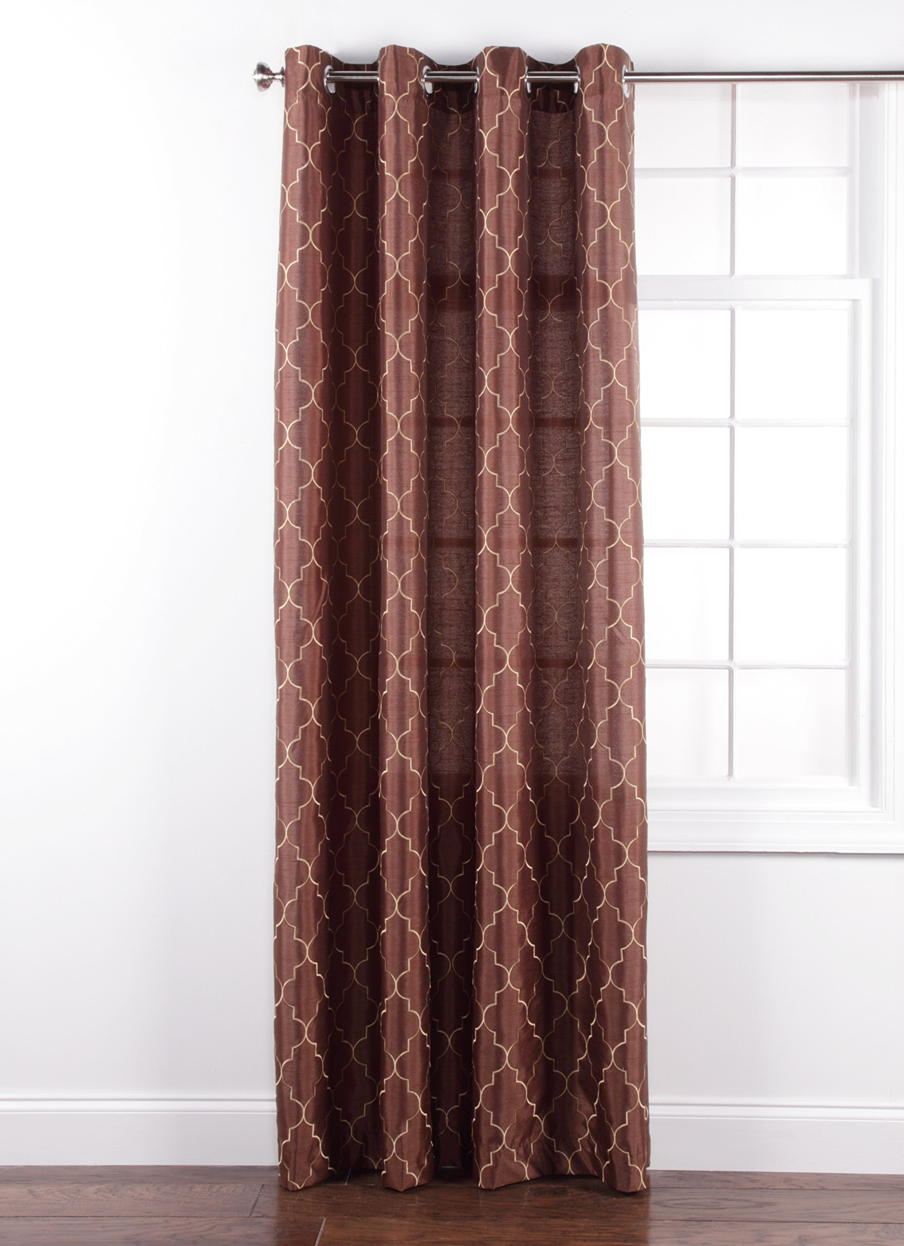 Stylemaster Hudson 55 by 84-Inch Embroidered Faux Silk Silver Grommet Panel, Espresso - 4 attractive colors: espresso, spa, turquoise, vanilla Easy care machine wash cold and line dry Imported from china - living-room-soft-furnishings, living-room, draperies-curtains-shades - 81534WI0Q4L -