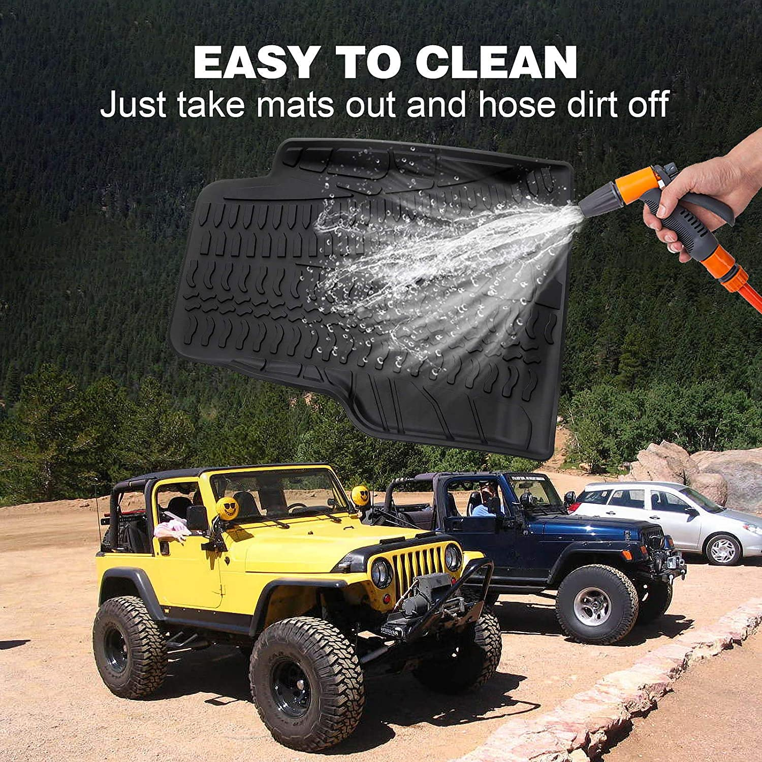 MotorFansClub Customed Floor Mat Liner Fit for Compatible with Jeep Wrangler TJ and LJ Models 1997-2006 All Weather Front and Rear Mats