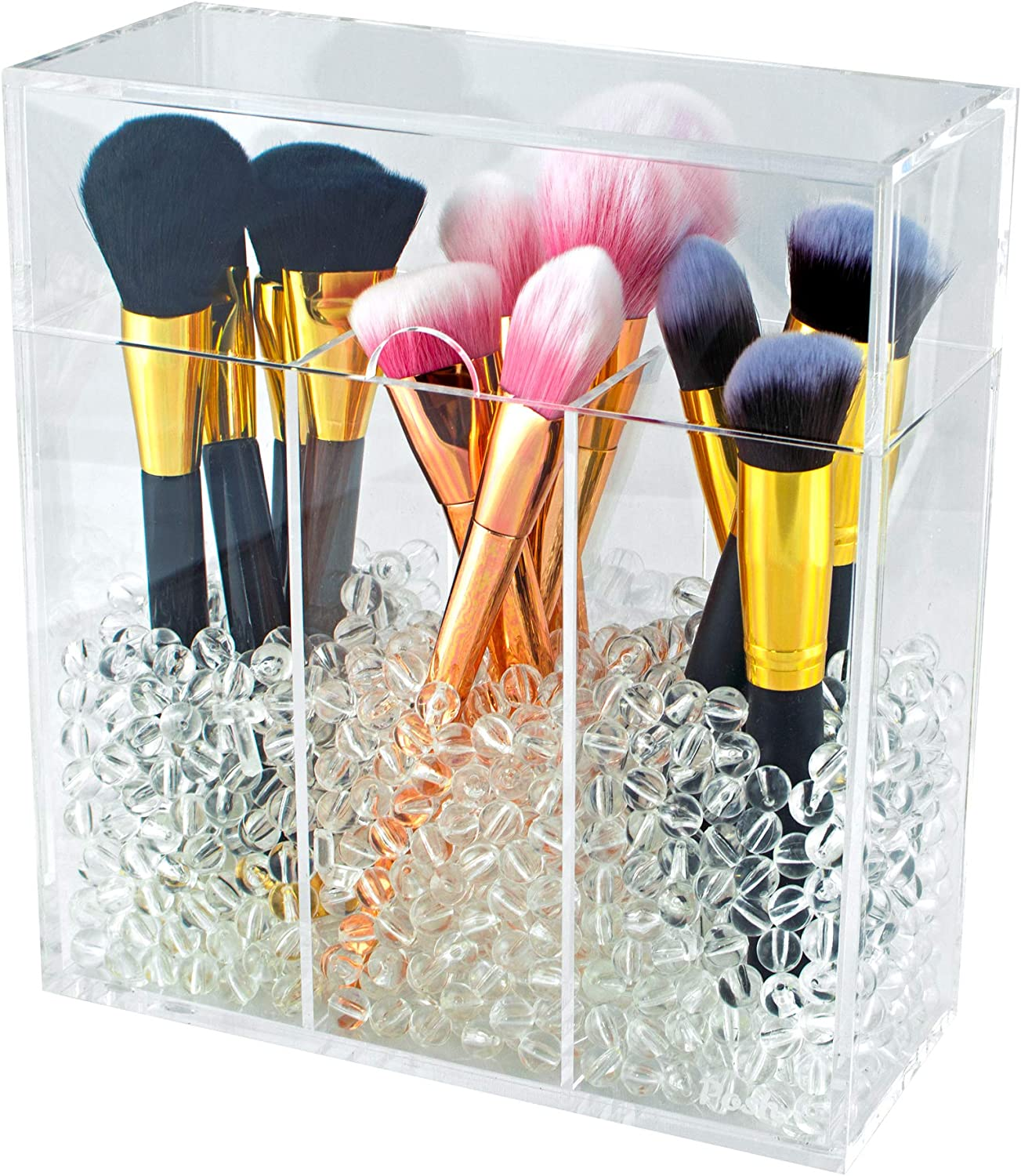 Makeup Brush Holder with Dustproof Top Lid - Large 3 Sections Organizer Case for Cosmetic Brushes - Acrylic Beads or Pearls Included