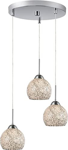 Woodbridge Lighting 13624STN-M00WHT 3-Light Mini Pendant Cluster, Satin Nickel