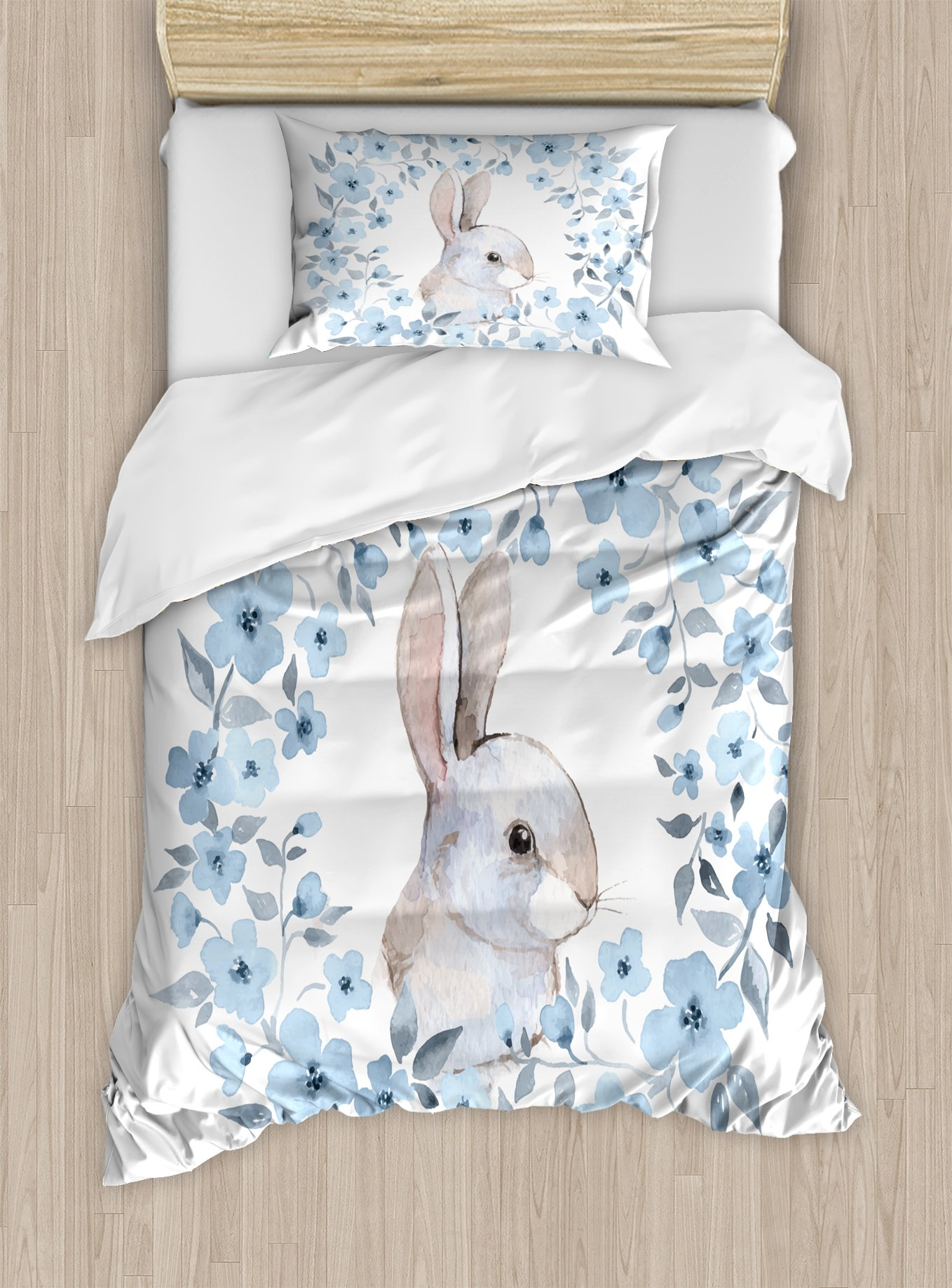 Ambesonne Watercolor Flower Duvet Cover Set Twin Size, Bunny Rabbit Portrait in Floral Wreath Illustration Country Style, Decorative 2 Piece Bedding Set with 1 Pillow Sham, Blue Grey White