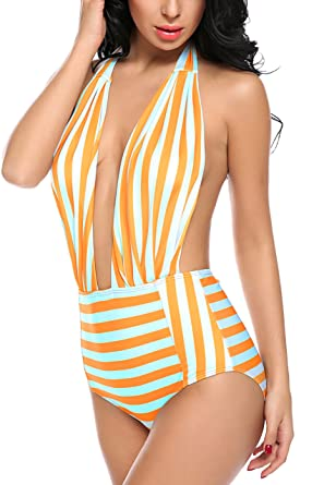 01965d2929b39d Avidlove Women's Retro One Piece Backless Bather Swimsuit High Waisted Pin  up Swimwear Orange