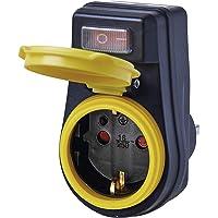 EMOS P00292 Outdoor stopcontact met schakelaar, IP44 waterdichte stekkeradapter Schuko met beschermkap voor buiten, 3680…