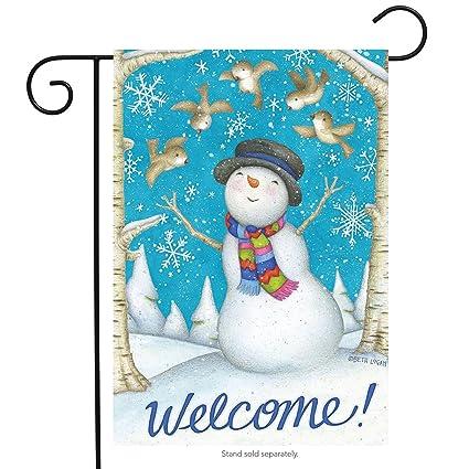 Joyous Welcome Winter Garden Flag Primitive Snowman Birds 12.5u0026quot; ...