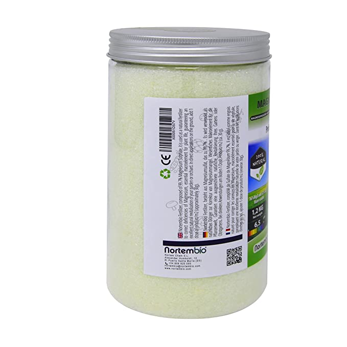 Nortembio Sulfato de Magnesio 1, 2 kg, Abono universal, Fertilizante Natural para Cultivos, Plantas de Interior y Exterior.: Amazon.es: Jardín