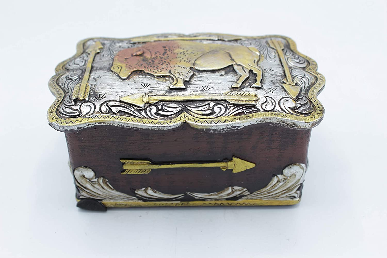 Western Cowboy Cowgirl Hand Tooled Buffalo Silver Lid Trinket Jewelry Box Rusic Home Decor