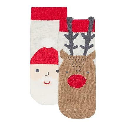 Bluezoo - Calcetines de Navidad para bebé, diseño de Papá Noel y reno, multicolor