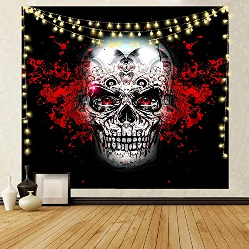 NRANSON Skull Tapestry Wall Hanging Skeleton Wall Decor for Living Room Bedroom Dorm with LED Strip Lights 59.05 x 78.74