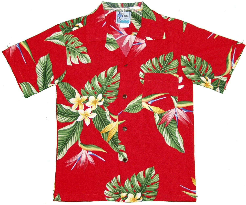 RJC Boys Bird of Paradise Display Rayon Shirt Red 12
