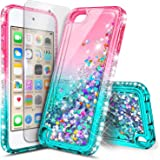 iPod Touch 7 Case, iPod Touch 5/6 Case with Screen Protector, E-Began Glitter Liquid Floating Gradient Quicksand Bling Diamon