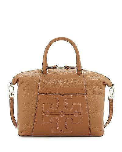 Amazon.com  Tory Burch Bombe T Medium Slouchy Leather Satchel Bag Women s  Handbag (Bark)  Shoes 32faff34d8