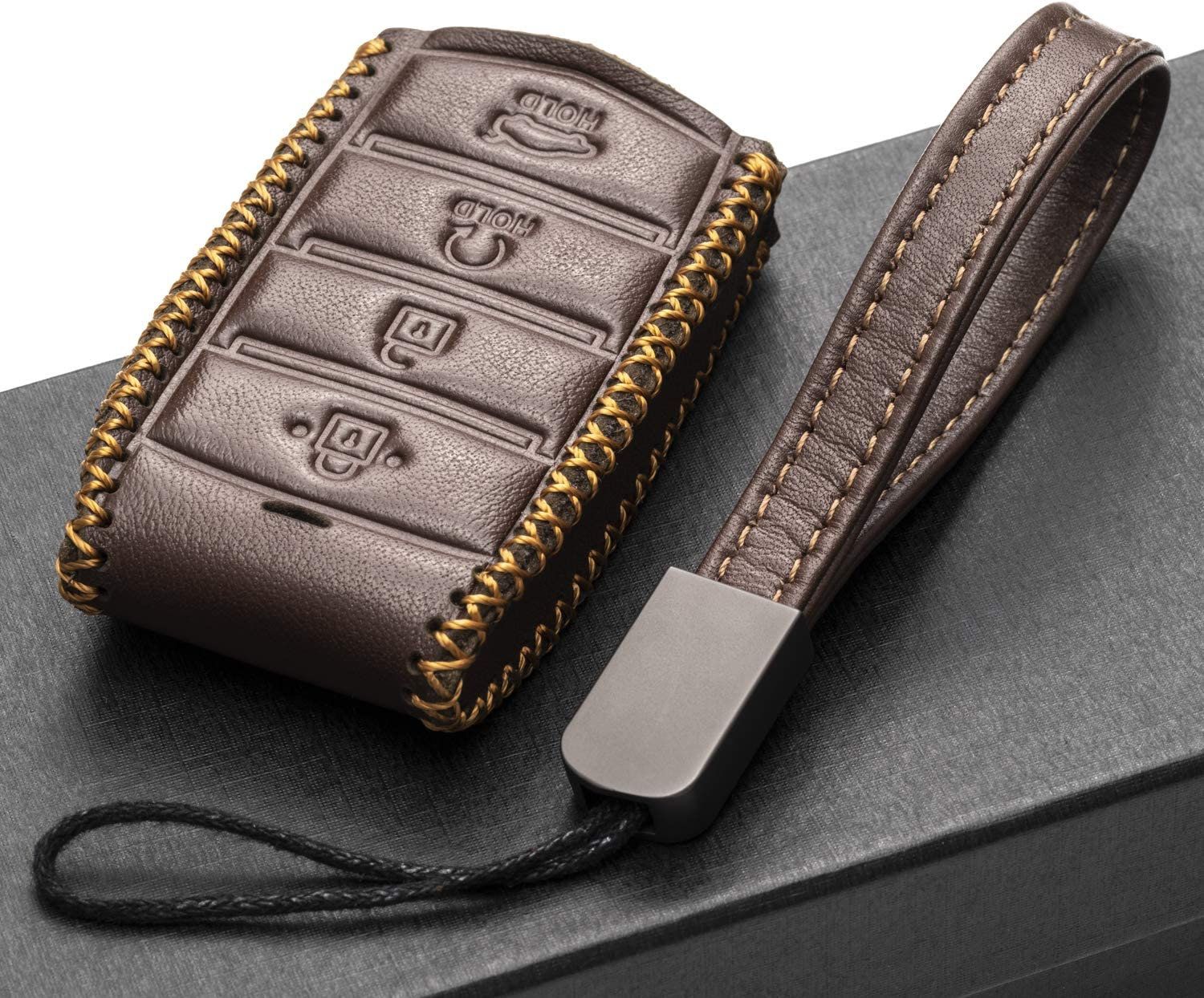 Vitodeco Genuine Leather Smart Key Fob Case Cover Protector with Leather Key Chain for 2017-2020 Genesis G70 G80 G90 4-Button with Tailgate, Black